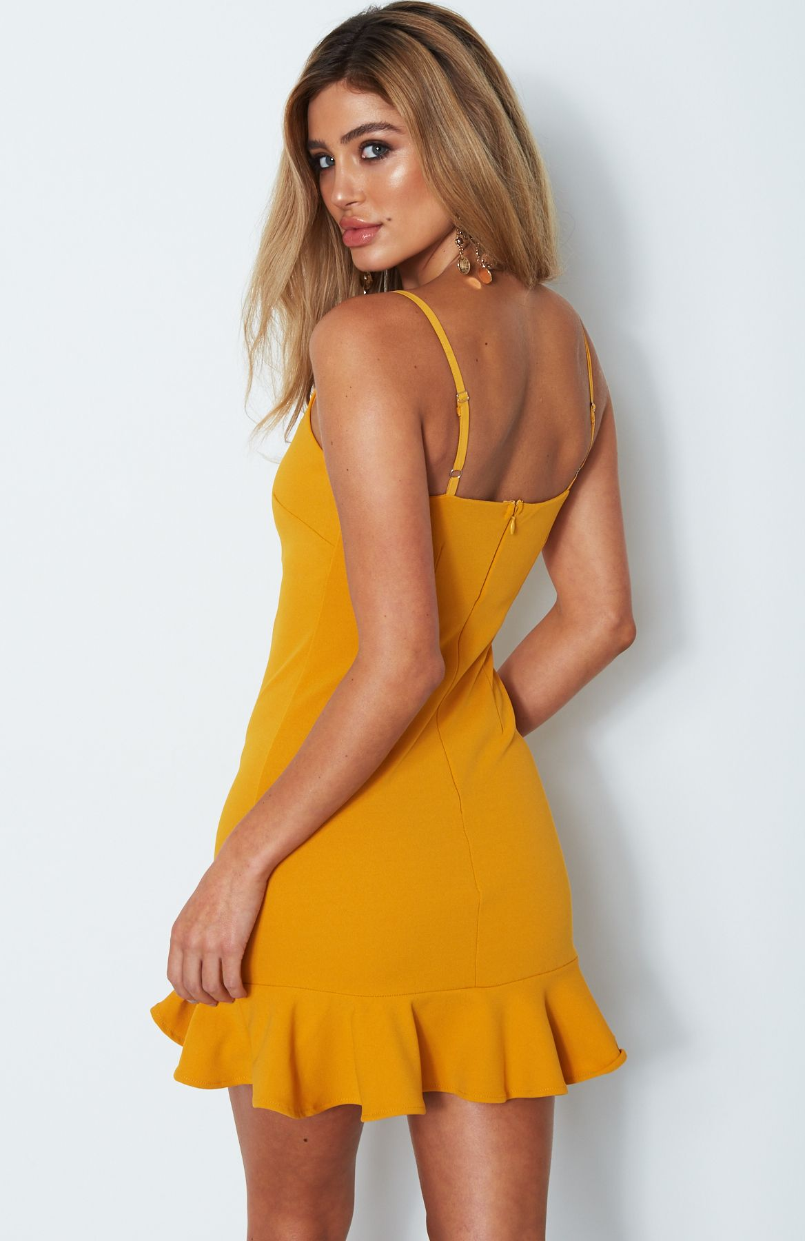 mustard ruffle dress