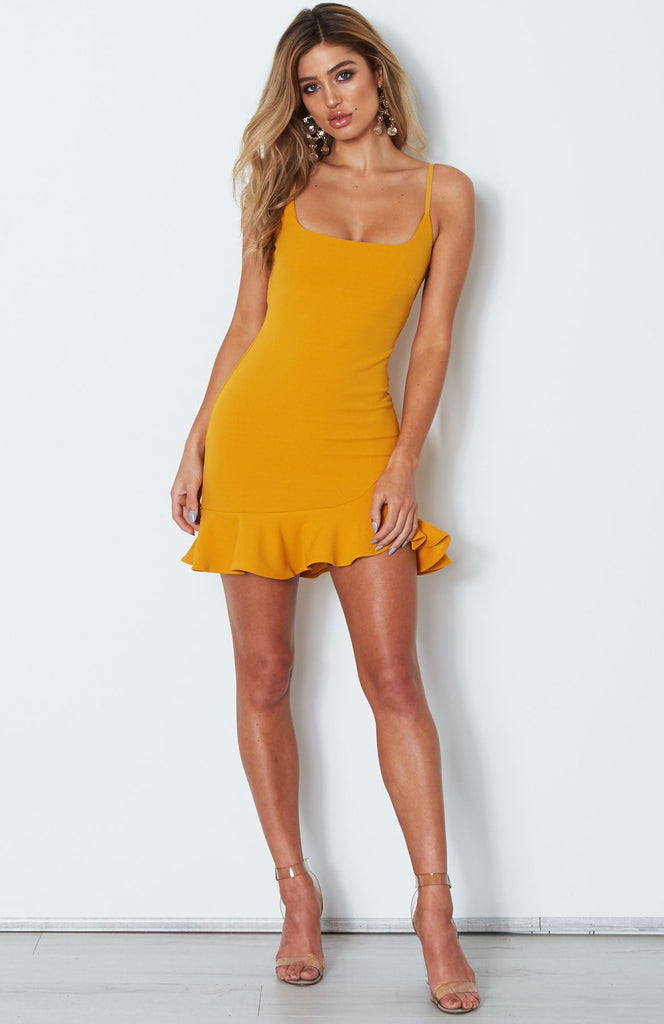 mustard ruffle mini dress