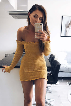 mustard yellow bardot dress