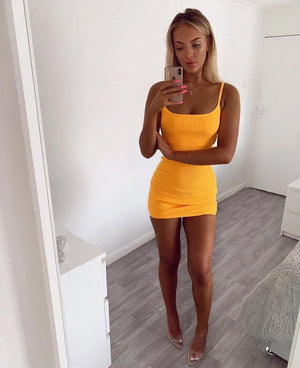 mustard yellow mini dress