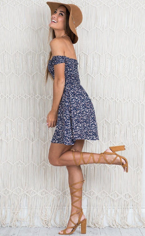 navy blue off the shoulder floral dress