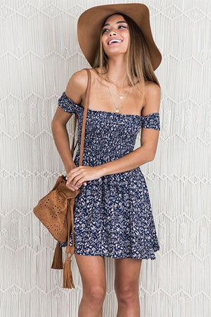 navy off the shoulder floral dress