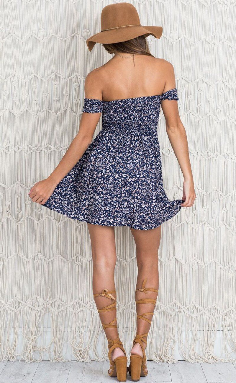 navy off the shoulder floral mini dress