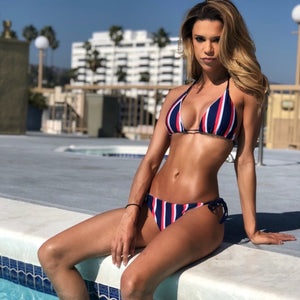 navy striped bikini