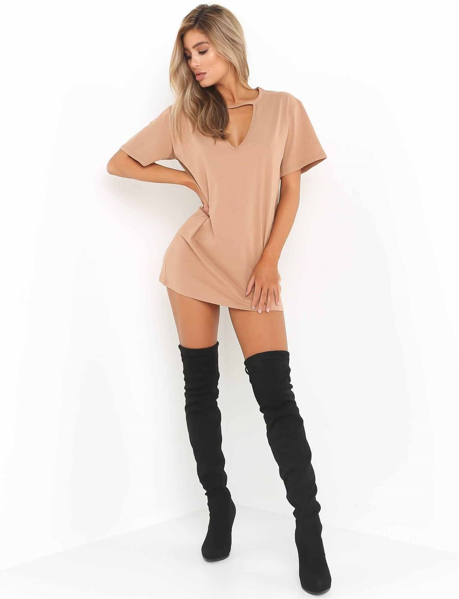 nude t shirt dress