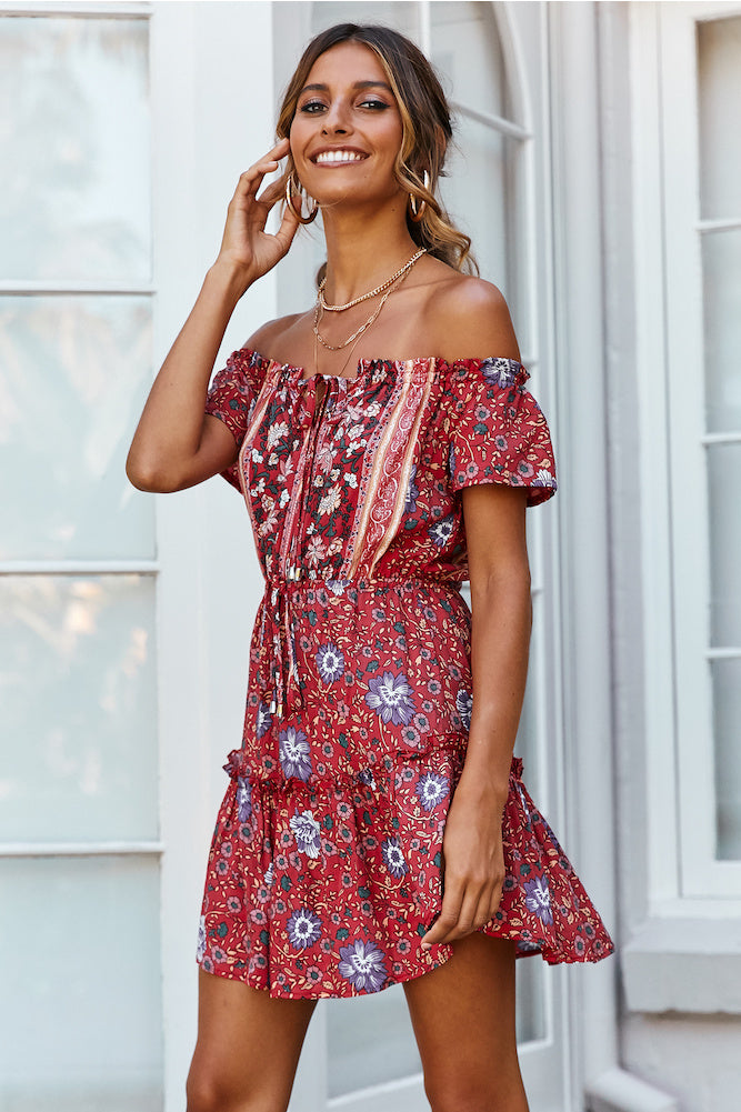 off shoulder boho mini dress