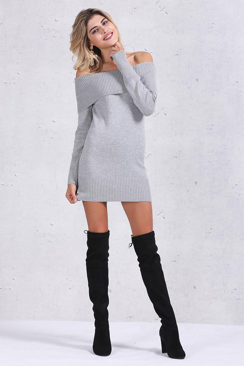 off the shoulder jumper dress