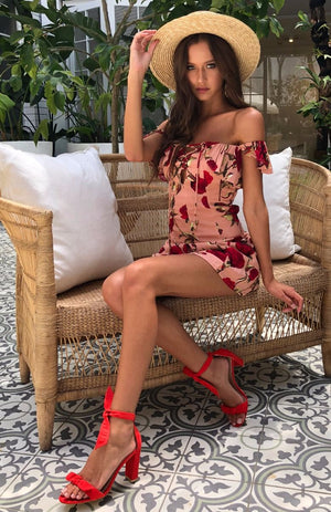 off the shoulder rose floral print dress
