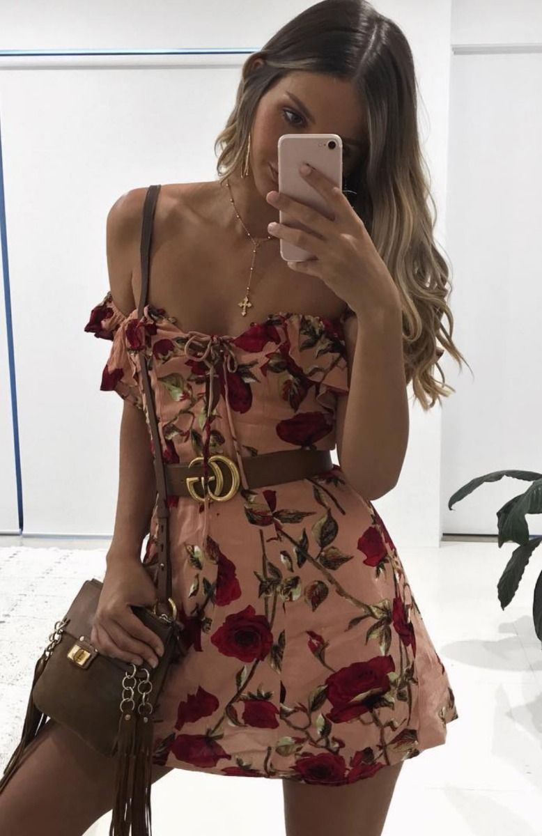 off the shoulder rose floral print mini dress