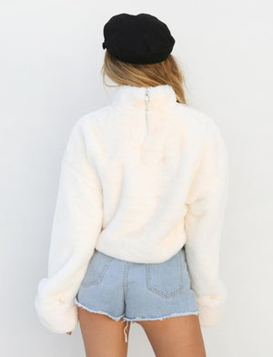 off white fluffy turtleneck sweater