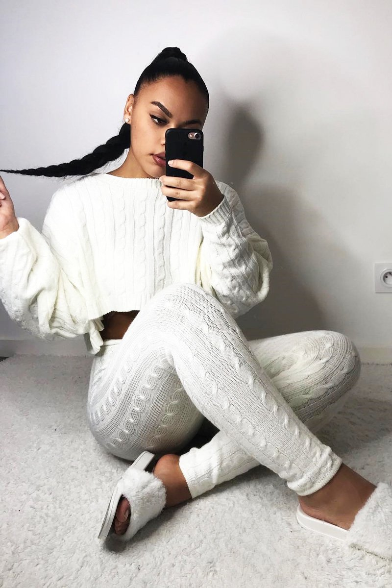 off white sweater and knit leggings set