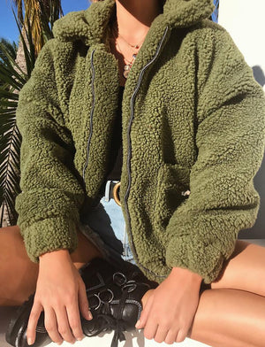 olive green teddy bear coat
