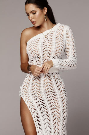 one shoulder knit dress