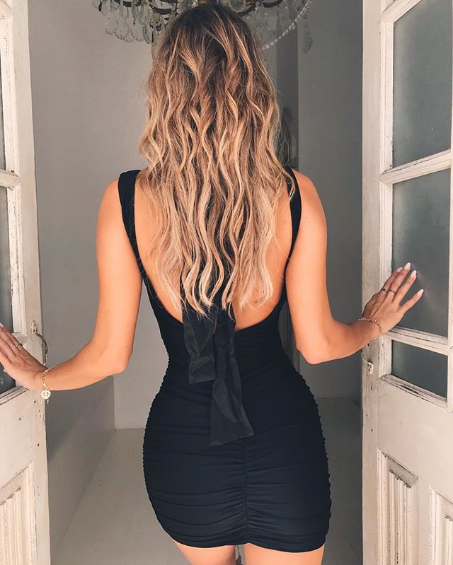 open back little black dress