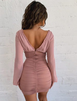 open back long sleeve dress