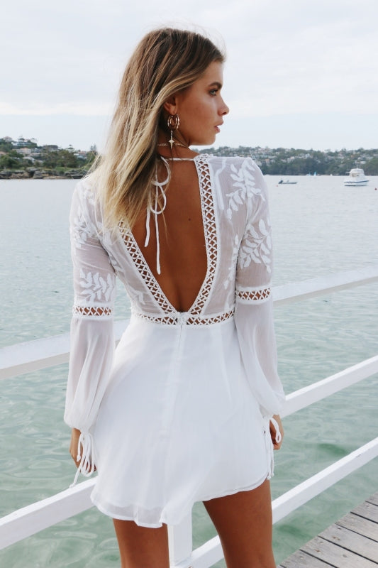 open back long sleeve lace dress
