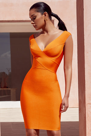 orange bandage dress