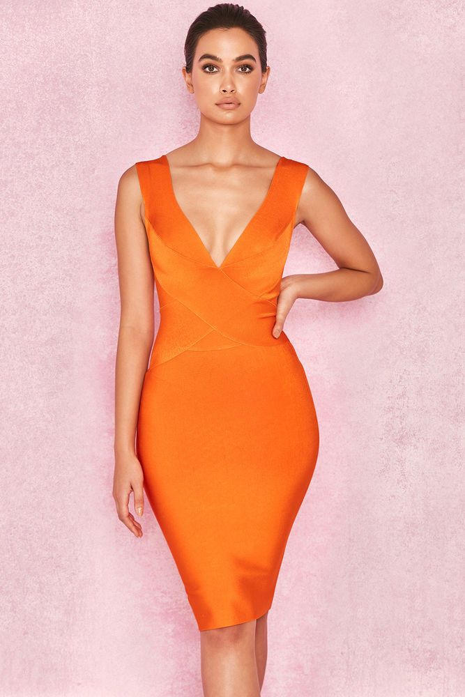 orange deep plunge dress