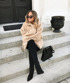 oversized beige fleece teddy jacket