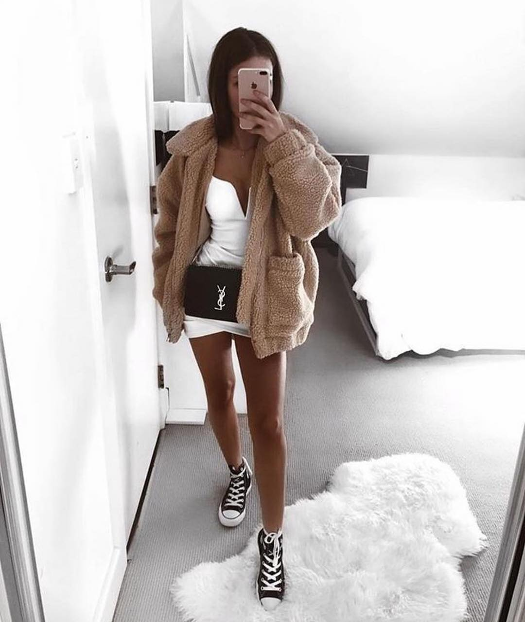 oversized beige sherpa teddy bear coat