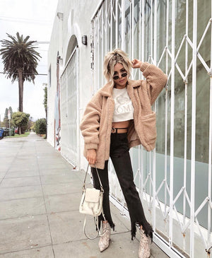 oversized beige sherpa teddy coat
