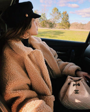 oversized brown fleece teddy bear coat