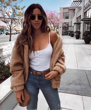 oversized caramel sherpa teddy bear coat