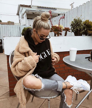 oversized caramel sherpa teddy bear jacket