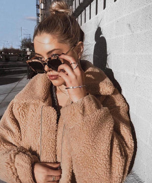 oversized caramel teddy bear coat
