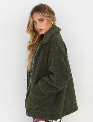 oversized olive green teddy bear coat