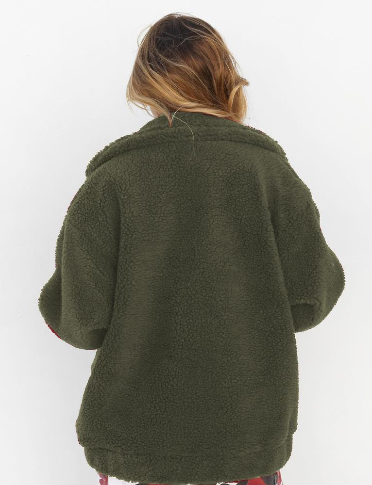 oversized olive green teddy coat