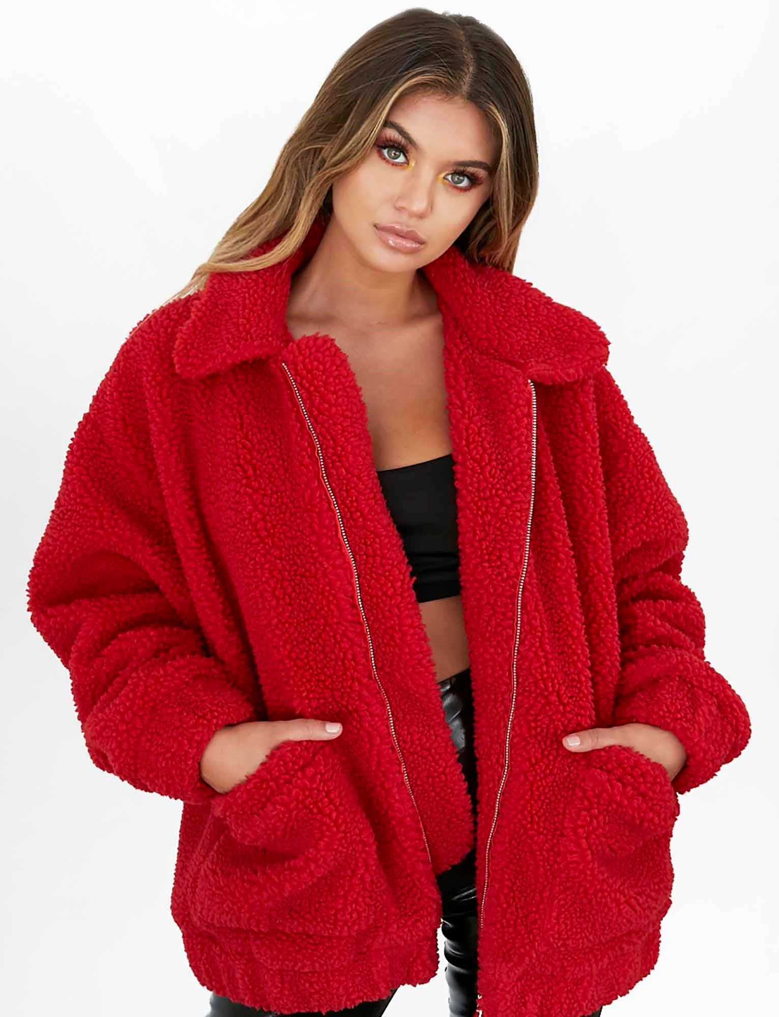 oversized red teddy bear coat