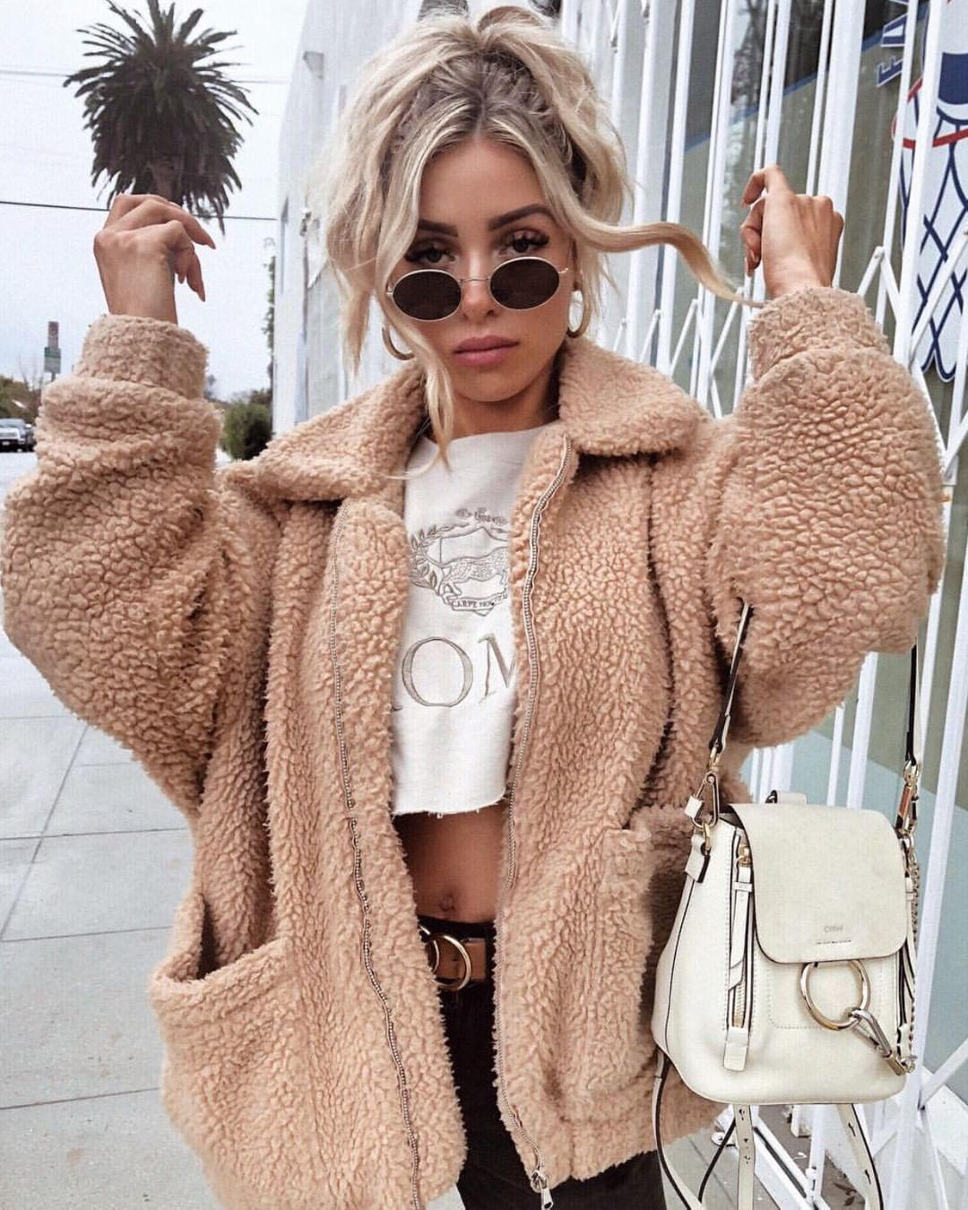 oversized tan sherpa teddy bear jacket