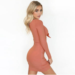 peach tie front bodycon dress