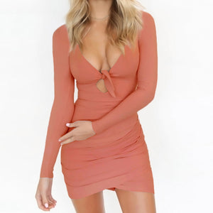 peach tie front mini dress
