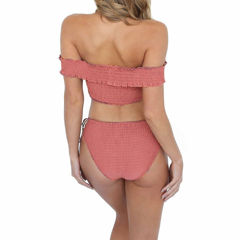 pink off shoulder swimsuit