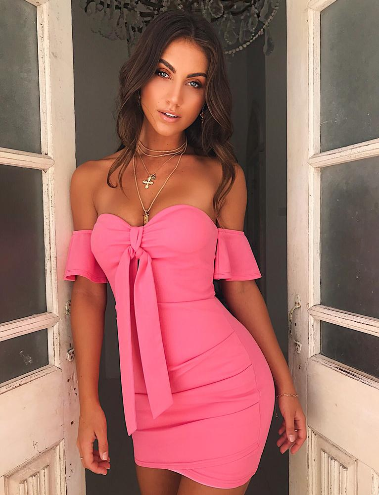 pink off the shoulder bodycon dress