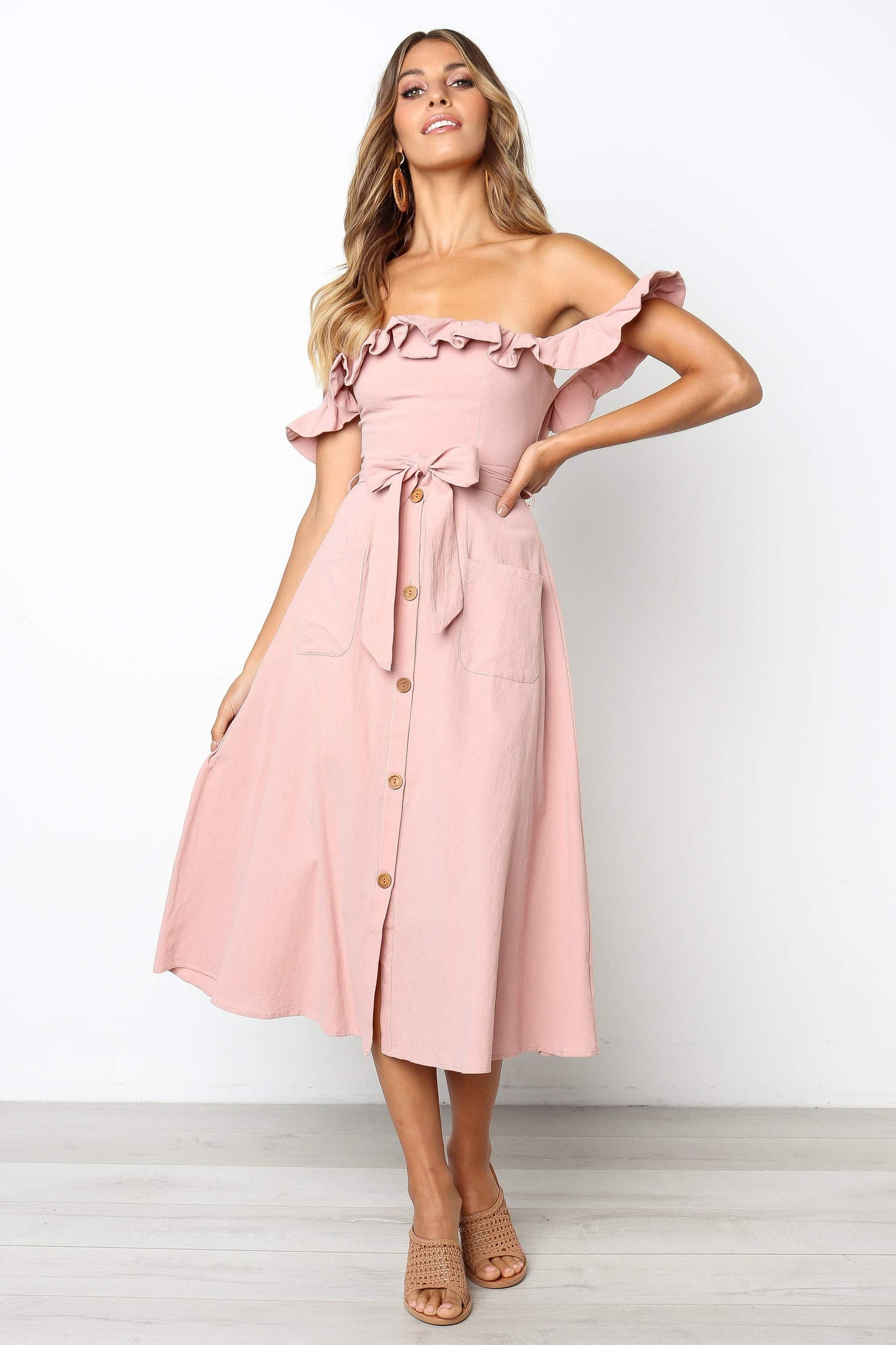 pink off the shoulder button down midi dress