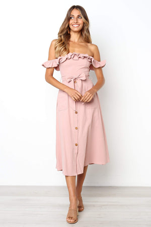 pink off the shoulder midi dress