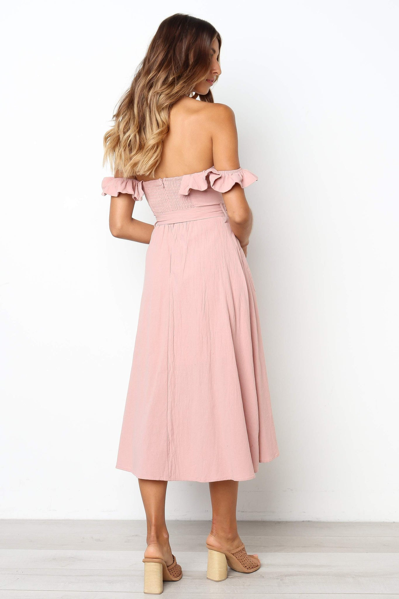 pink off the shoulder ruffle midi dress
