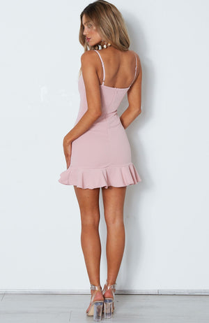 pink ruffle mini dress