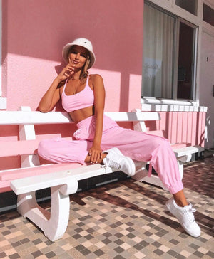 pink tank top and pants set
