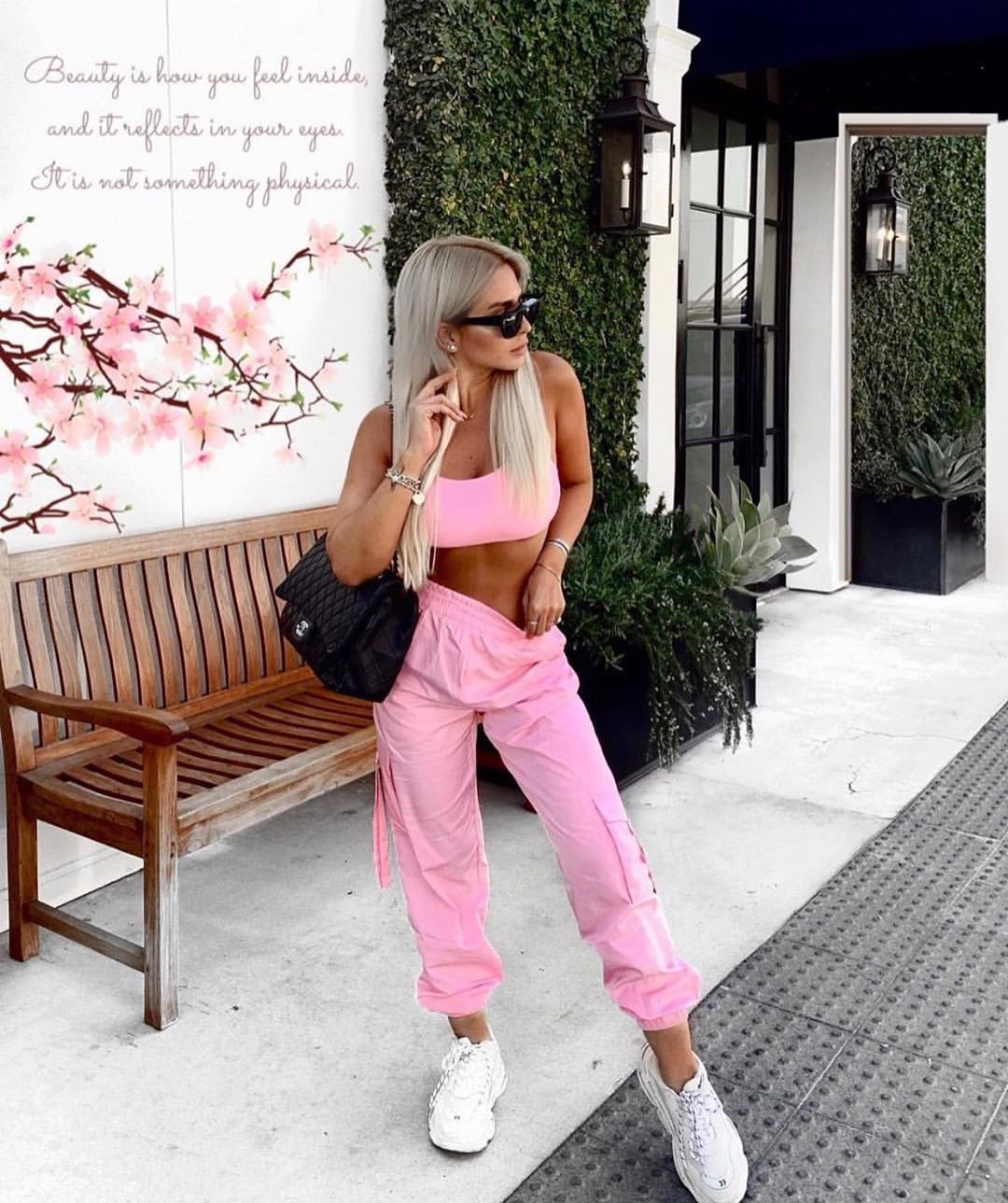 pink two piece casual set