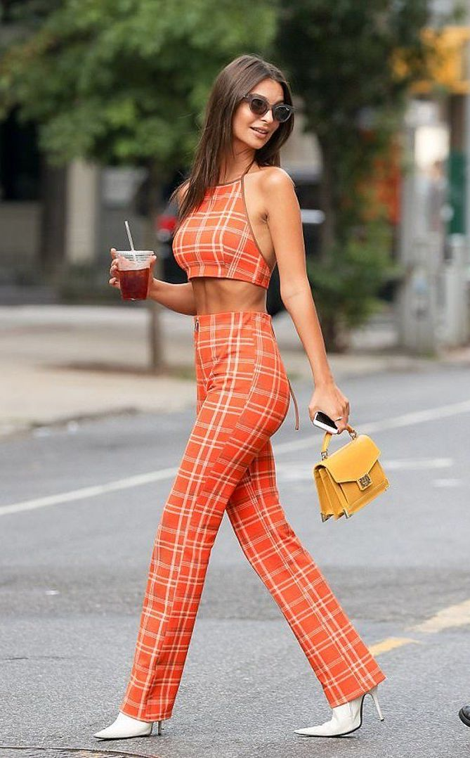 plaid crop top and pants set