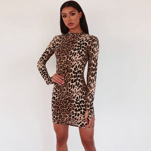 long sleeve leopard print dress