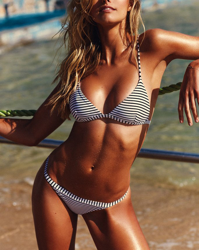 Amelia Black and White Striped Bikini