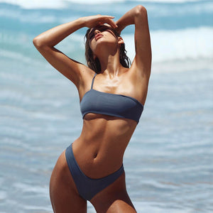 gray one shoulder bikini