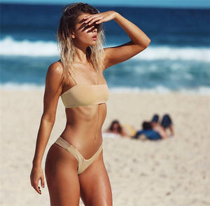 nude one shoulder bikini