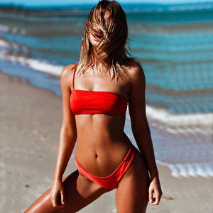 red one shoulder bikini