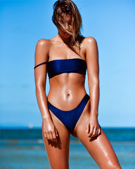 royal blue one shoulder bikini
